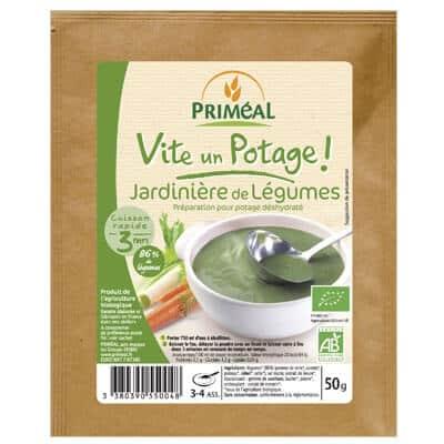 Potage bio végétarien jardinière de légumes priméal
