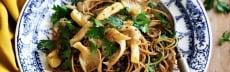 Recette végétarienne spaghettis lentilles vertes champignons