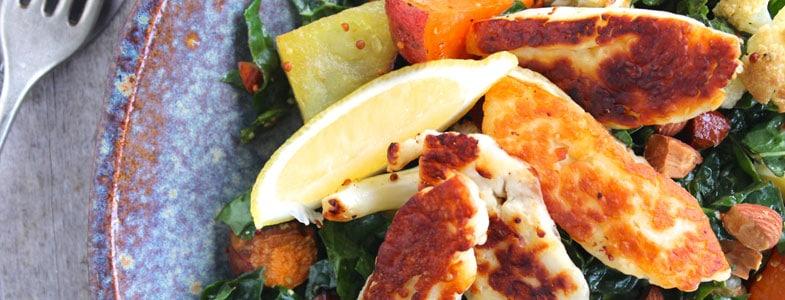Recette Salade de kale, haloumi et patate douce