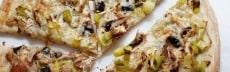 pizza végétarienne poireaux champignons