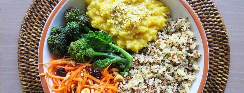 Recette Buddha bowl quinoa, lentilles corail et carottes