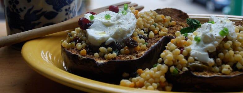 Recette Aubergines grillées au couscous et yaourt