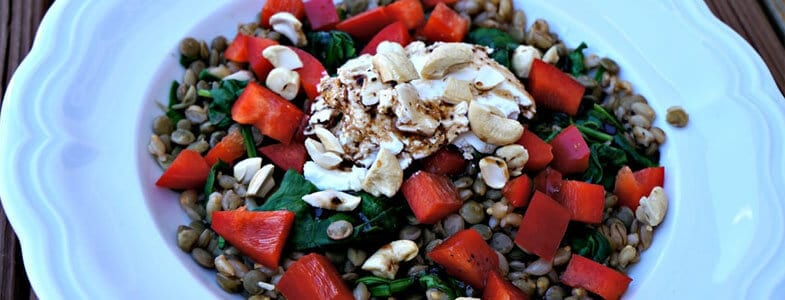 Salade de lentilles, orge, poivron et chèvre