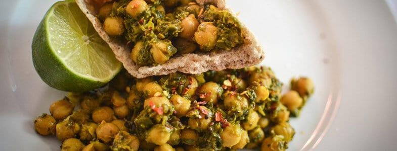 Recette Pois chiches et curry d\u0027épinards