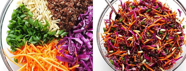 Salade fraîche asiatique au quinoa rouge