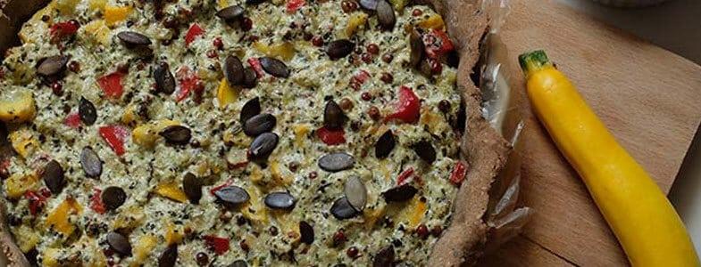 Recette Tarte poivron, courgettes, graines de courge