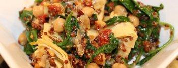 Recette végétarienne quinoa pois chiches épinards