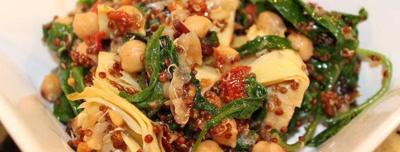 Recette Quinoa aux pois chiches, épinards et artichauts