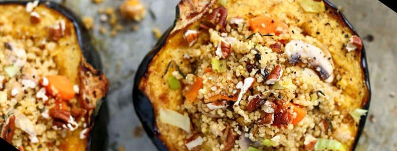 recette végétarienne courge farcie semoule champignons