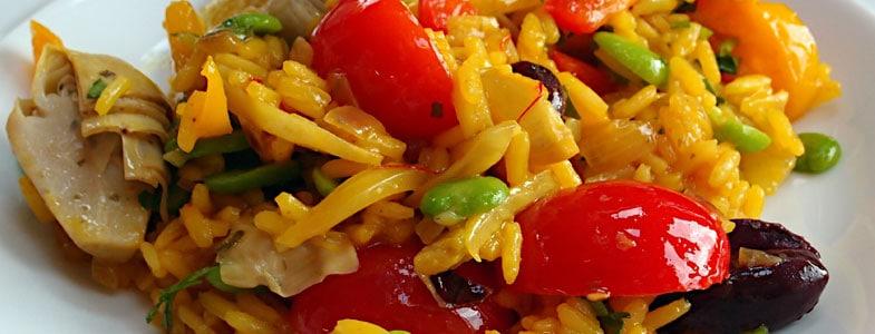 Paella de printemps aux fèves