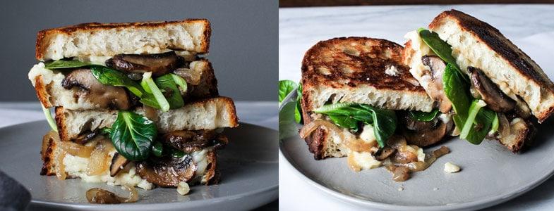 Sandwich champignons, fromage et épinards