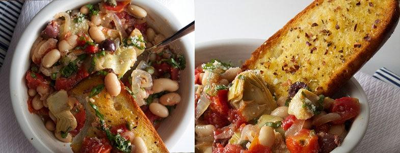 Recette végétarienne – Haricots blancs puttanesca et pain à l'ail