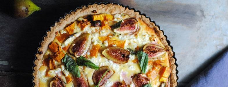 Recette végétarienne – Tarte aux figues, courge et chèvre