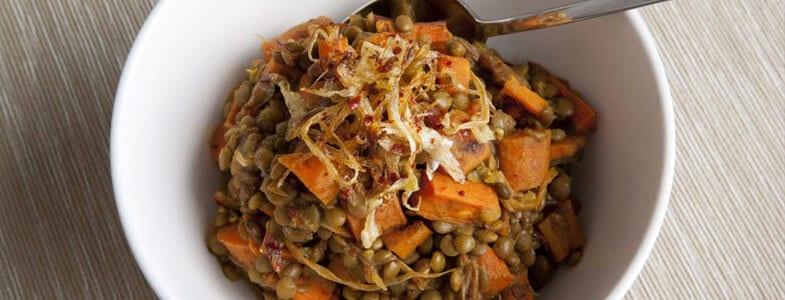 Lentilles aux carottes et oignons confits