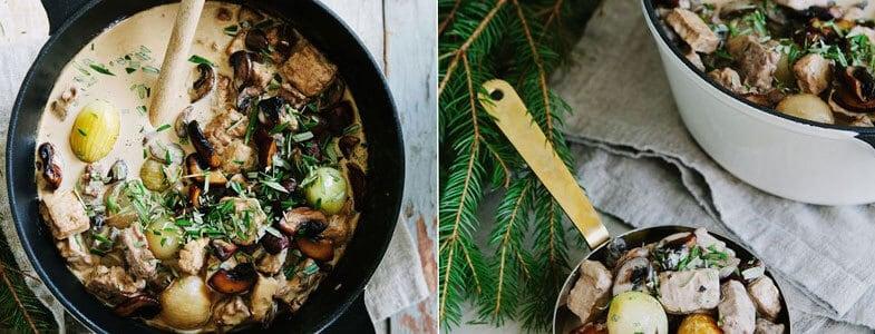 Marmite crémeuse de Noël aux champignons et pommes de terre