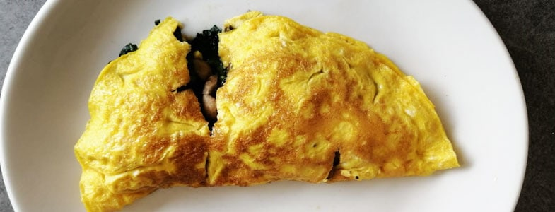 Omelette champignons épinards
