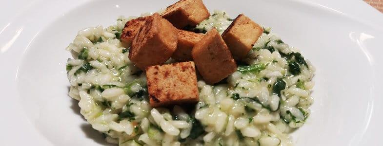 Risotto aux épinards et tofu grillé