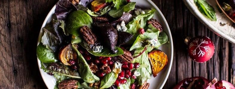 Salade de betteraves, grenades et noix de pécan