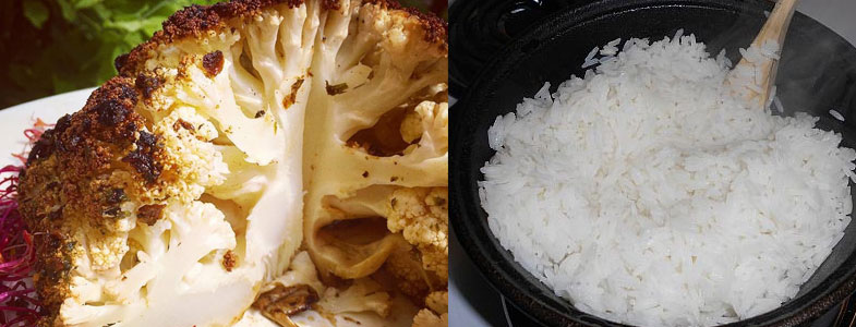 Chou-fleur rôti et riz pilaf