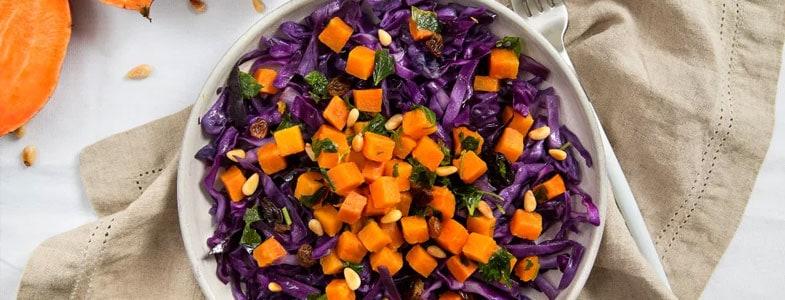 Salade chaude de chou rouge aux patates douces