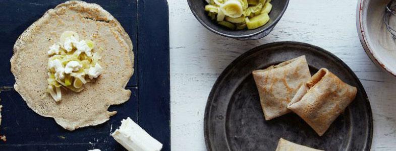 recette vegetarienne galette sarrasin poireaux chevre