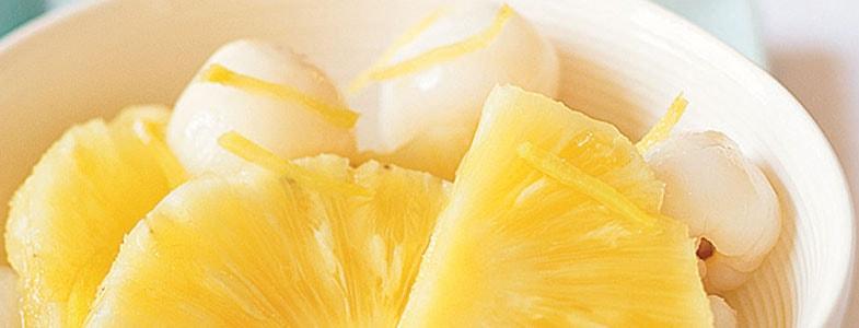 Salade de litchi et ananas, sirop de gingembre