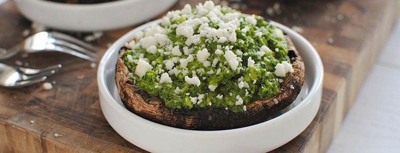 recette vegetarienne portobello pesto kale