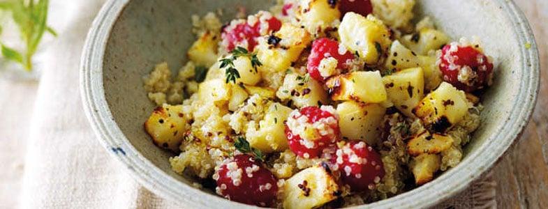 Quinoa, céleri rôti et framboises