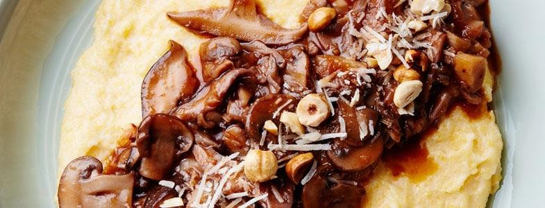 Ragoût champignons panais et polenta crémeuse