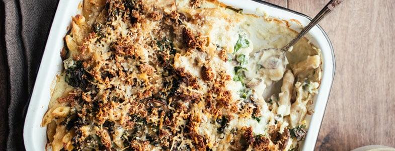 Recette végétarienne – Gratin de pâtes, chou-fleur et champignons