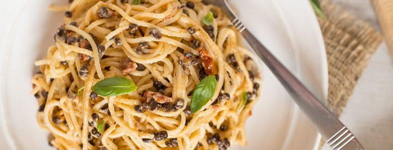 Spaghettis lentilles carbonara