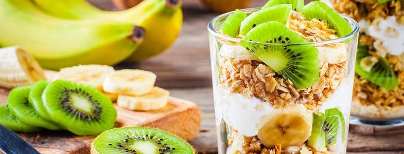 Yaourt granola kiwi et banane