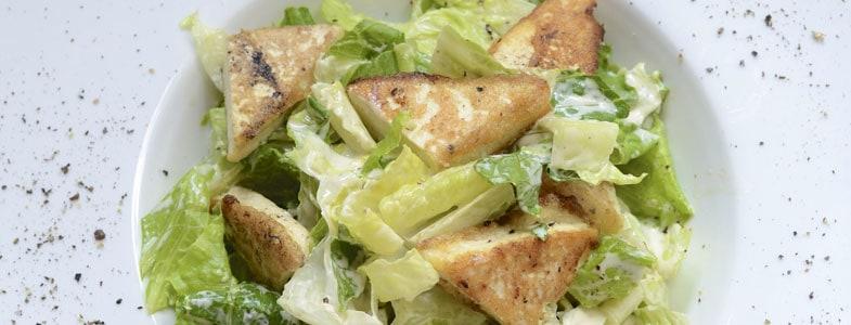 recette cegetarienne cesar salade croutons tofu