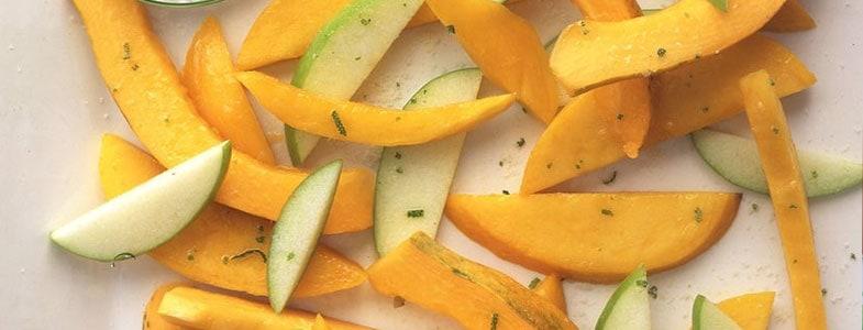 Pomme, mangue et papaye au jus de citron vert