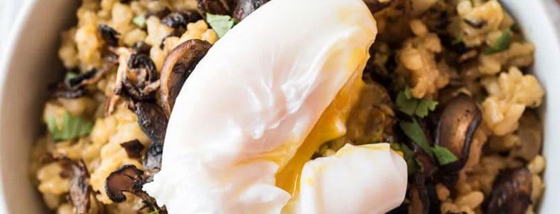 recette vegetarienne risotto champignons oeuf poche