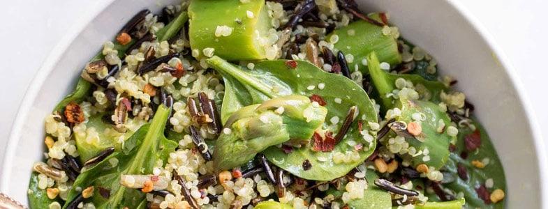 Riz sauvage, quinoa et asperges