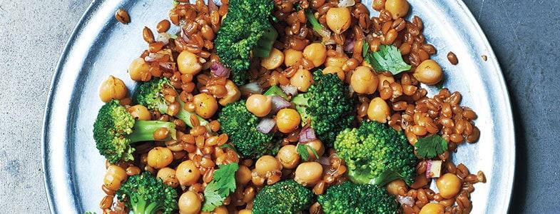 Salade chaude de blé et pois chiches