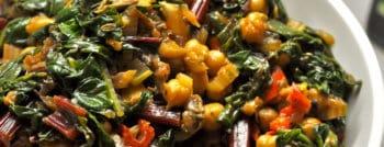 recette vegetarienne aubergines roties pois chiches blettes