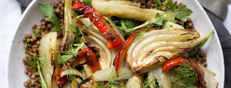 recette vegetarienne lentilles vertes fenouil poivron grilles