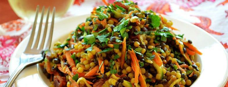 Salade de couscous perlé et lentilles beluga