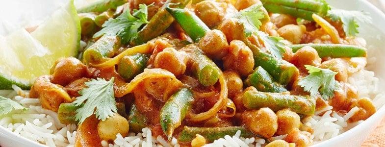 Pois chiches et haricots verts aux épices