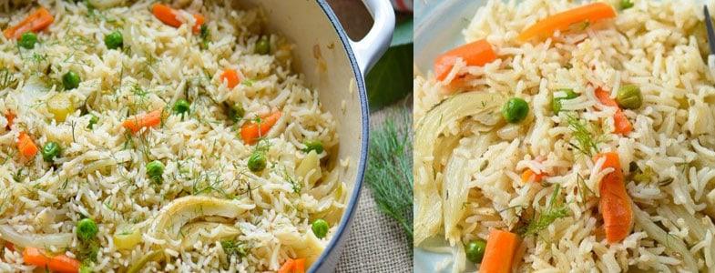 Riz au fenouil, petits pois et carottes