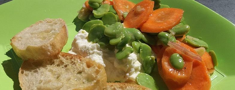Salade de fèves, carottes et ricotta