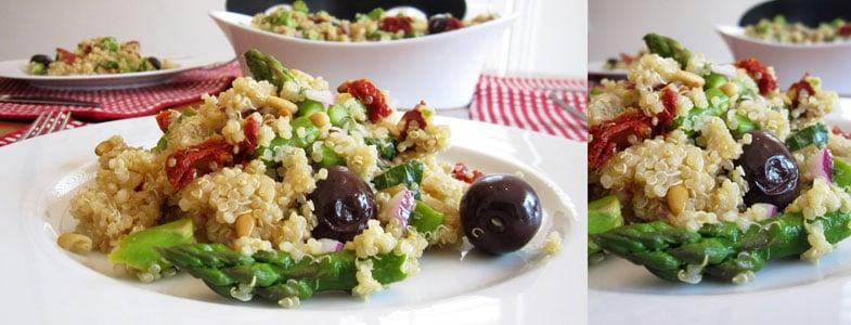 Salade de quinoa, asperges, tomates séchées