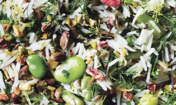 Salade de riz, fèves et pistaches