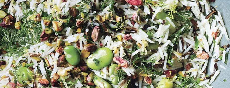 recette vegetarienne salade riz feves pistaches