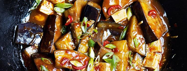 recette vegetarienne saute aubergines tofu