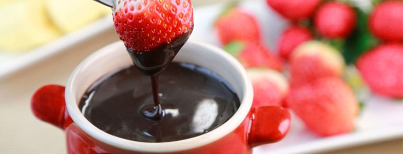fraises fondue chocolat