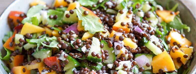 Salade de lentilles et nectarines
