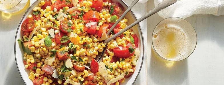 Salade maïs tomates, sauce miso